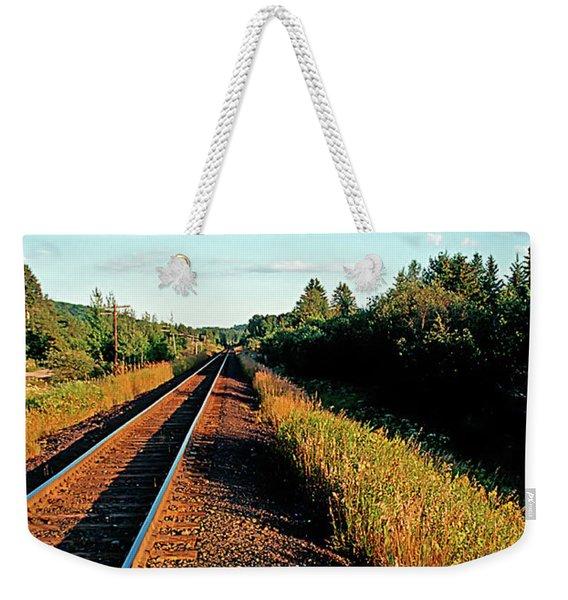 Rural Country Side Train Tracks Weekender Tote Bag