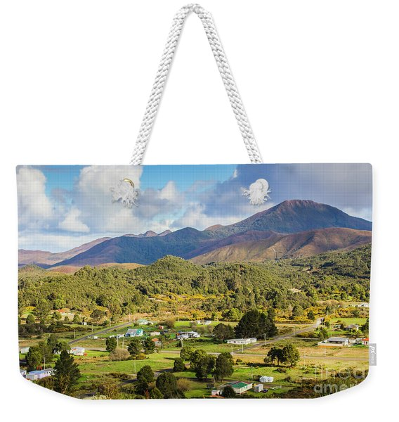 Rural Landscape With Mountains And Valley Village Weekender Tote Bag