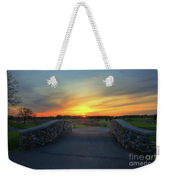 Rush Creek Golf Course The Bridge To Sunset Weekender Tote Bag