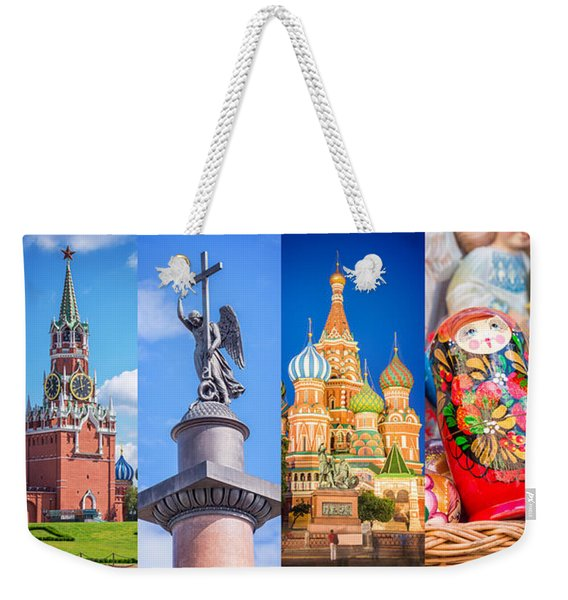 Russia Collage Weekender Tote Bag