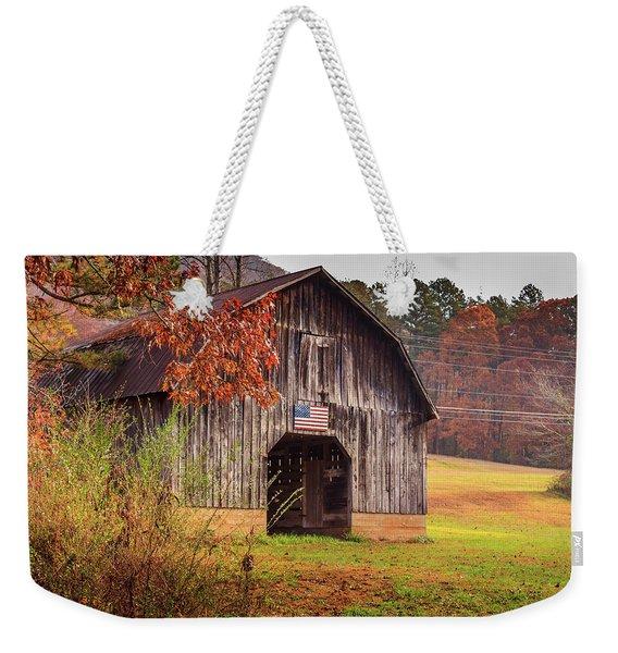 Rustic Barn In Autumn Weekender Tote Bag