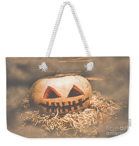 Rustic Barn Pumpkin Head In Horror Fog Weekender Tote Bag
