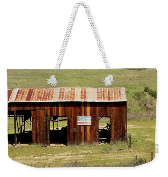 Rustic Barn With Flag Weekender Tote Bag