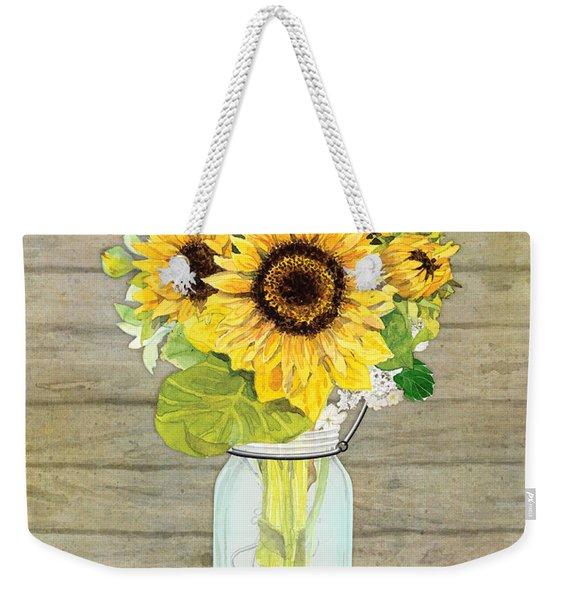 Rustic Country Sunflowers In Mason Jar Weekender Tote Bag