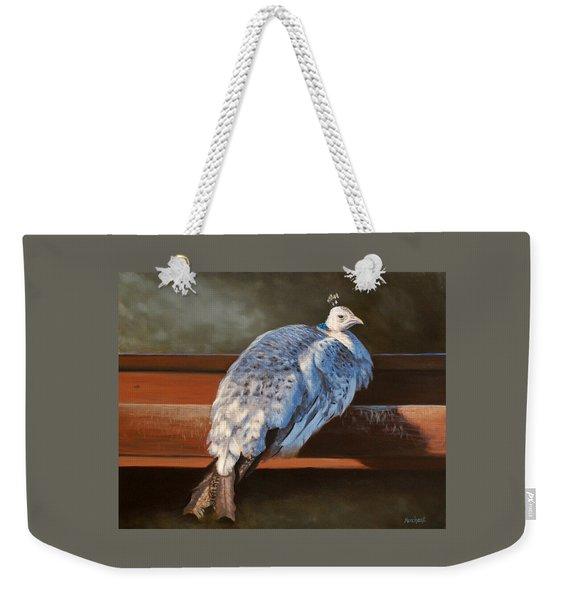 Rustic Elegance - White Peahen Weekender Tote Bag