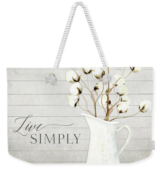 Rustic Farmhouse Cotton Boll Milk Pitcher Live Simply Weekender Tote Bag