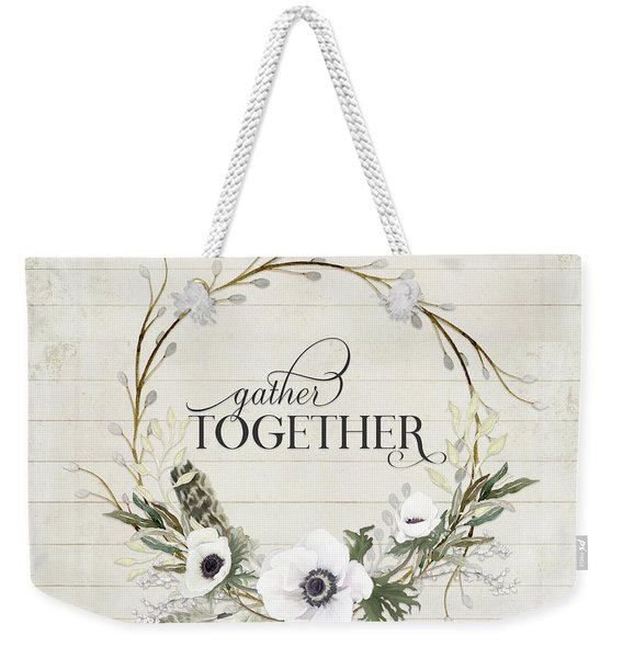 Rustic Farmhouse Gather Together Shiplap Wood Boho Feathers N Anemone Floral 2 Weekender Tote Bag