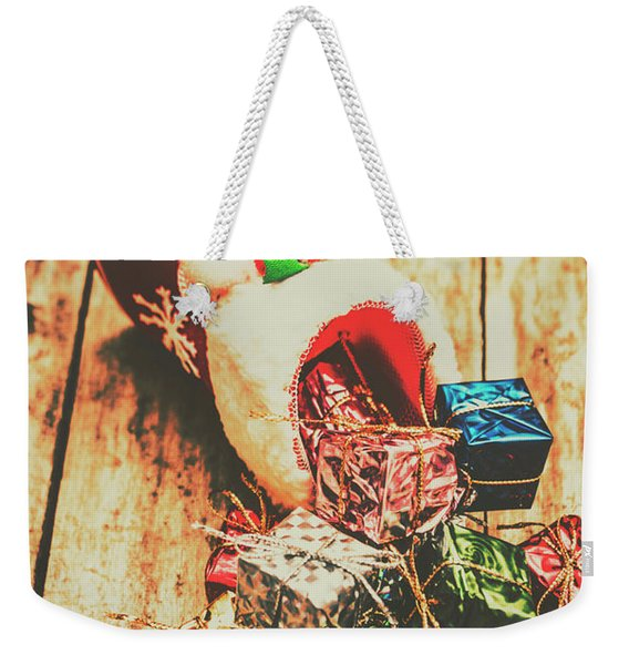 Rustic Red Xmas Stocking Weekender Tote Bag