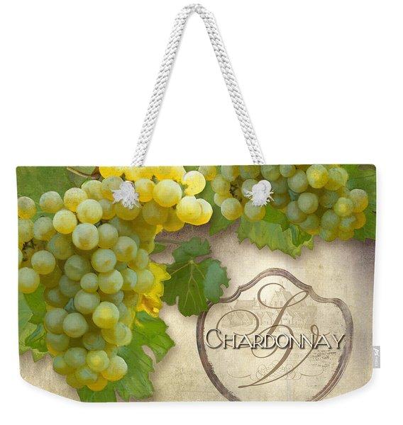 Rustic Vineyard - Chardonnay White Wine Grapes Vintage Style Weekender Tote Bag