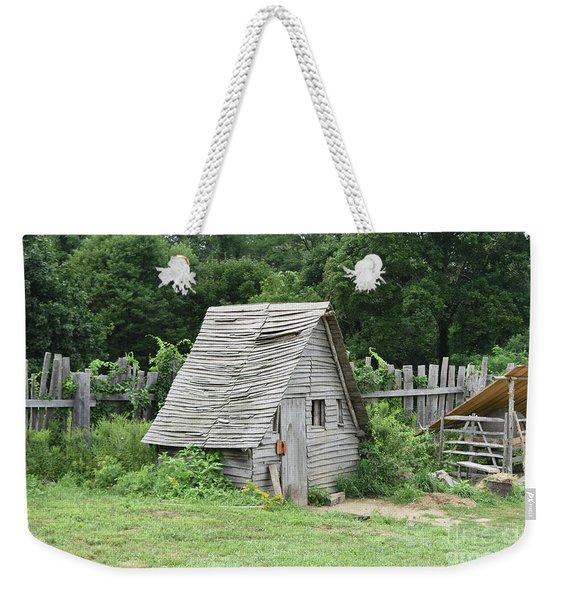 Rustic Wooden Chicken Coop In Plimoth Plantation Weekender Tote Bag
