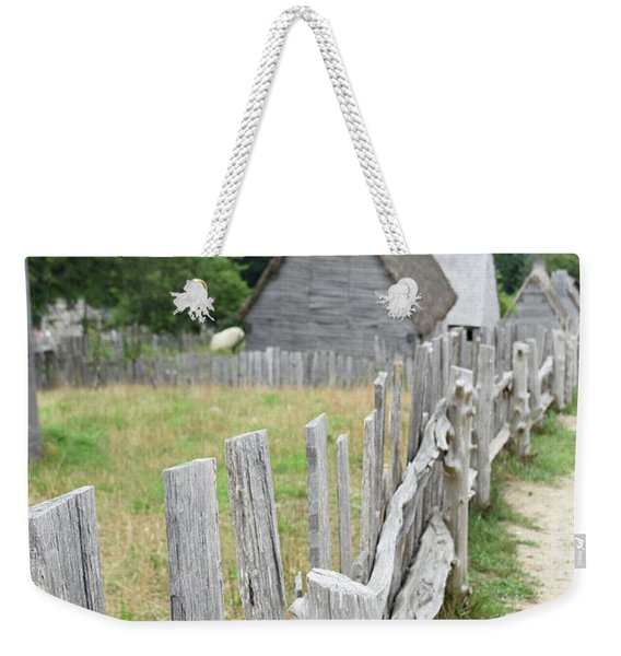Rustic Wooden Fence In Village Of Colonists Weekender Tote Bag