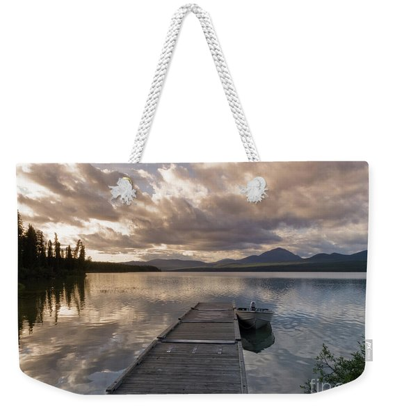Rustic Wooden Float Dock Jetty Boat Tranquil Lake Weekender Tote Bag