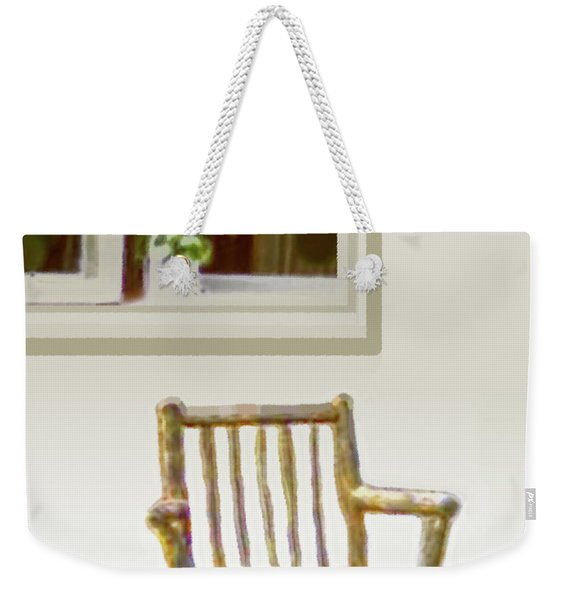 Weekender Tote Bag featuring the painting Rustic Wooden Rocking Chair by Marian Cates