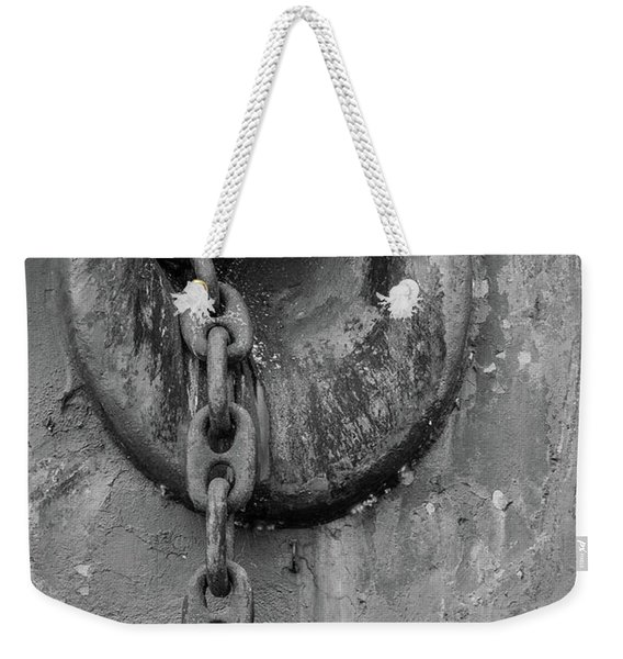 Rusty Anchor Chain Black And White Weekender Tote Bag