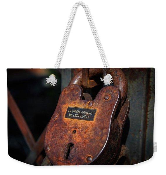 Rusty Lock Weekender Tote Bag
