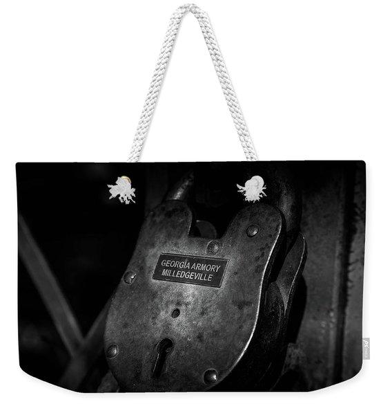 Rusty Lock In Bw Weekender Tote Bag