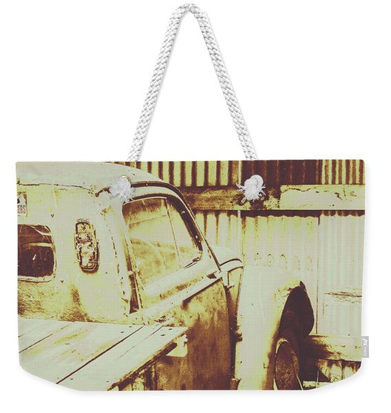 Rusty Pickup Garage Weekender Tote Bag