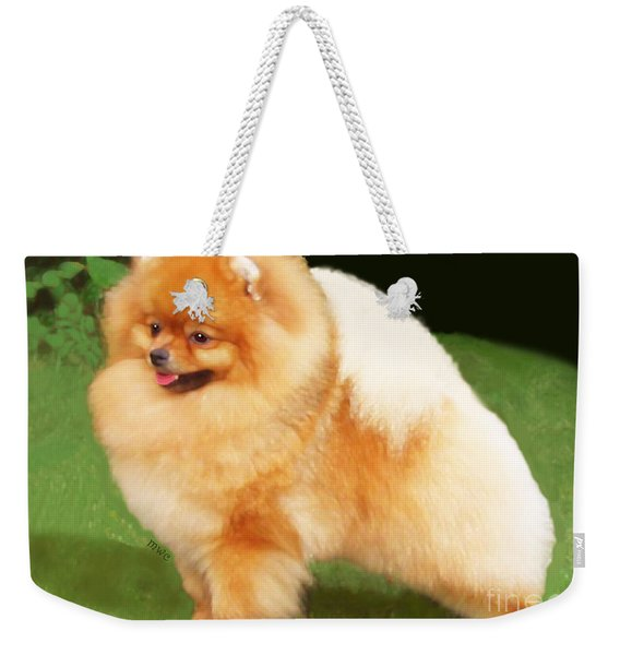Weekender Tote Bag featuring the painting Sable Pomeranian by Marian Cates