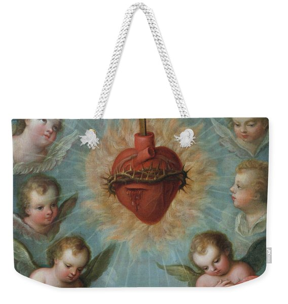 Sacred Heart Of Jesus Surrounded By Angels Weekender Tote Bag