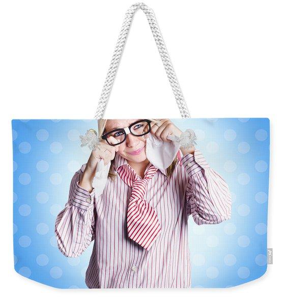 Sad Worker In Business Trouble Weekender Tote Bag