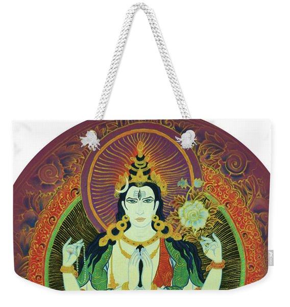 Weekender Tote Bag featuring the painting Sada Shiva  by Guruji Aruneshvar Paris Art Curator Katrin Suter