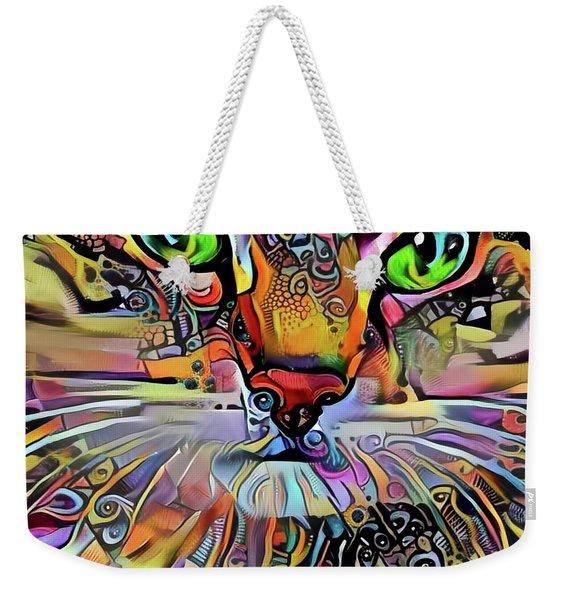 Sadie The Colorful Abstract Cat Weekender Tote Bag