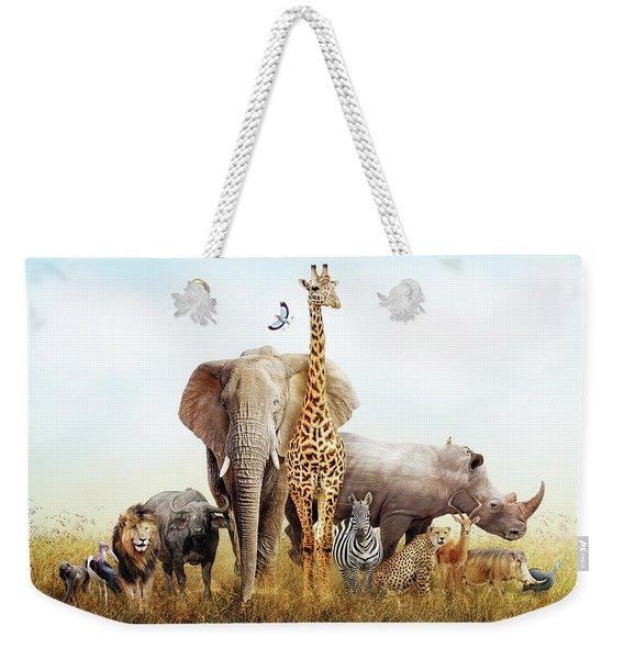 Safari Animals In Africa Composite Weekender Tote Bag