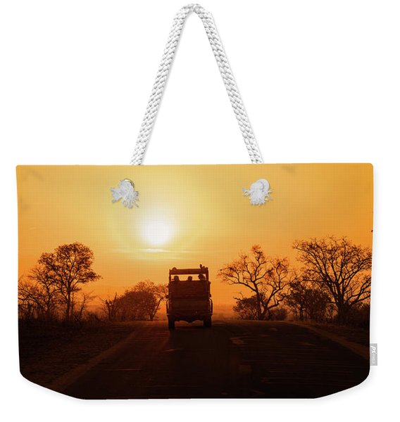 Safari Vehicle At Sunset Weekender Tote Bag