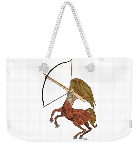 Weekender Tote Bag featuring the drawing Sagittarius by Barbara McConoughey