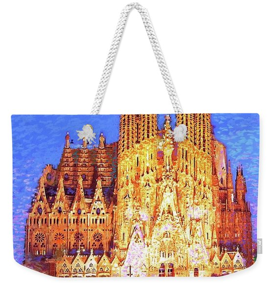 Sagrada Familia At Night Weekender Tote Bag
