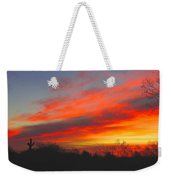 Saguaro Winter Sunrise Weekender Tote Bag