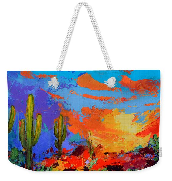 Saguaros Land Sunset Weekender Tote Bag