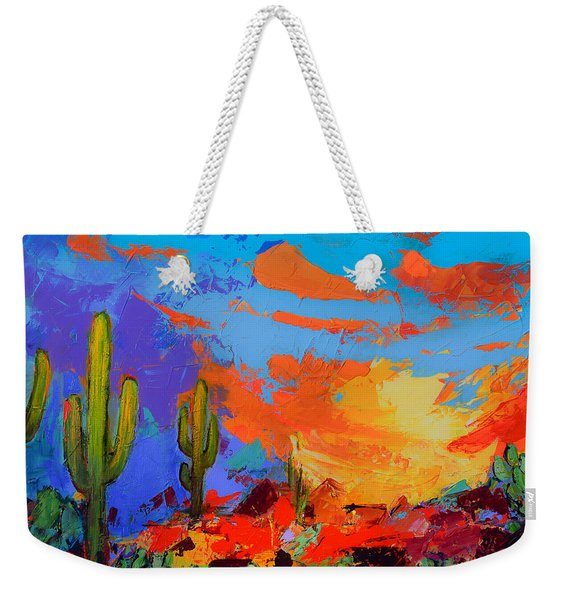 Saguaros Land Sunset Weekender Tote Bag