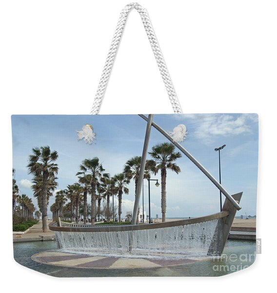 Sail Boat Fountain In Valencia Weekender Tote Bag