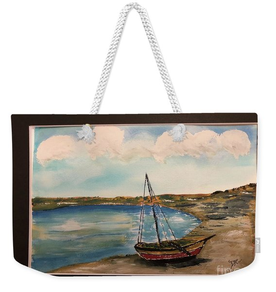 Sail Boat On Shore Weekender Tote Bag