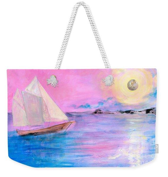 Sailboat In Pink Moonlight  Weekender Tote Bag
