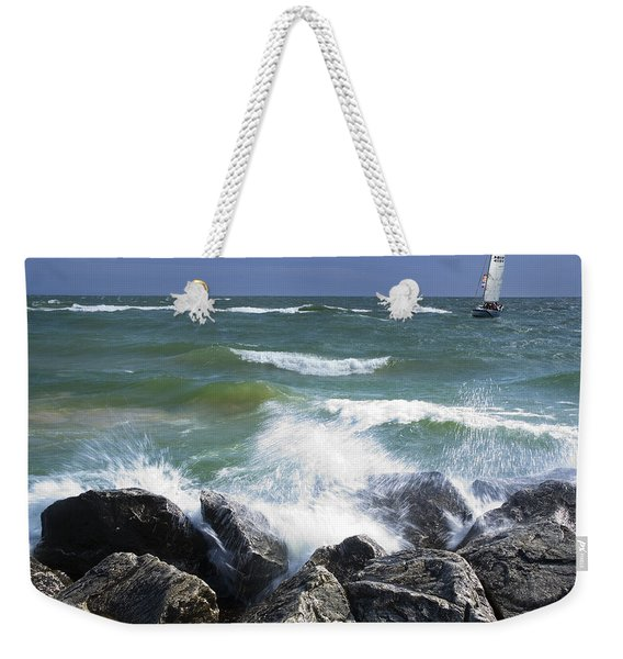 Sailboat Sailing Off The Shore At Ottawa Beach State Park Weekender Tote Bag