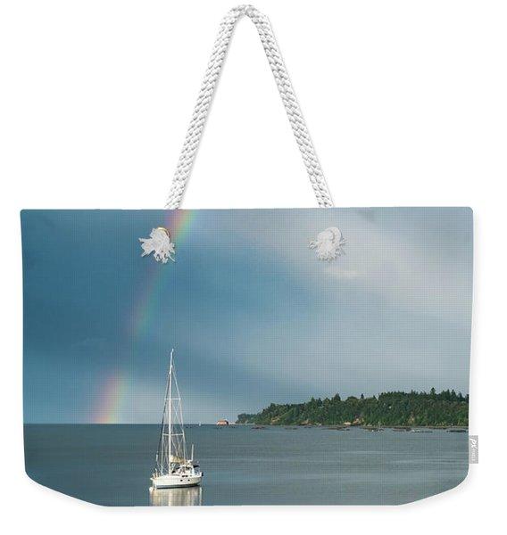 Sailboat Under The Rainbow Weekender Tote Bag