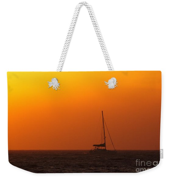 Weekender Tote Bag featuring the photograph Sailboat Waiting by Jeremy Hayden