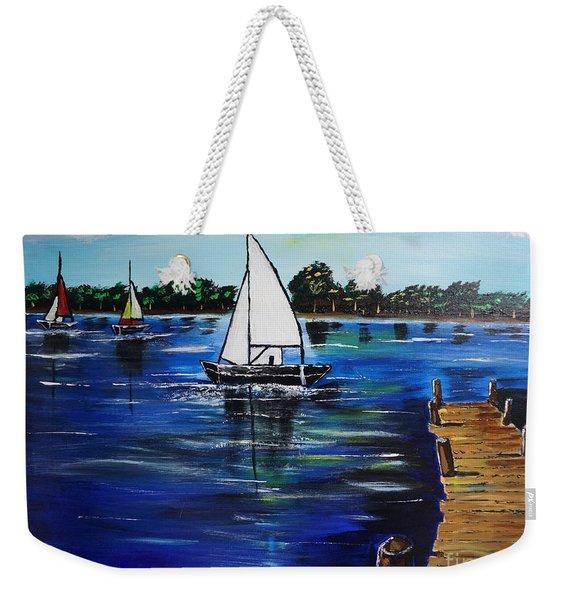Sailboats And Pier Weekender Tote Bag