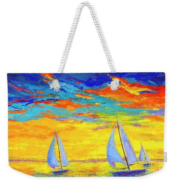 Sailboats At Sunset, Colorful Landscape, Impressionistic Art Weekender Tote Bag