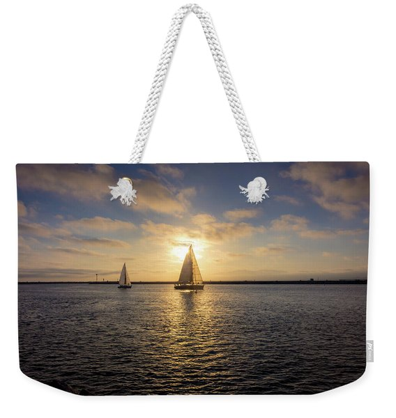 Weekender Tote Bag featuring the photograph Sailboats At Sunset by Andy Konieczny