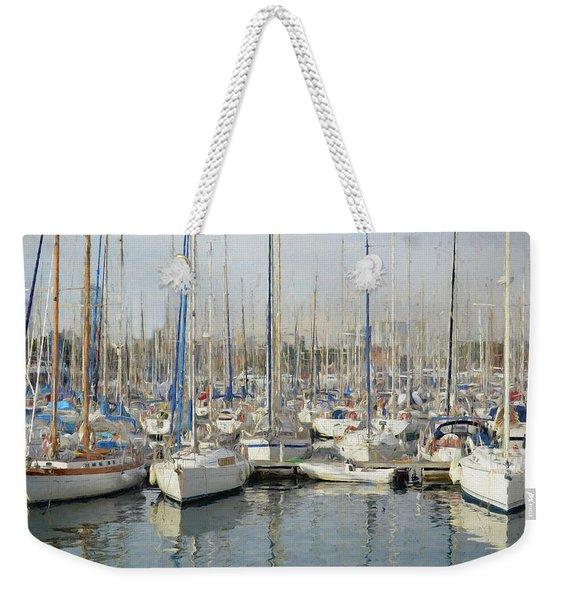 Sailboats At The Dock - Painting Weekender Tote Bag