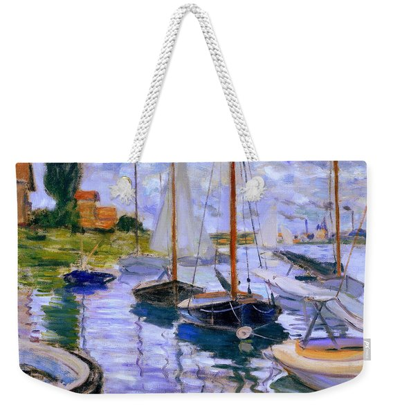 Sailboats On The Seine At Petit Gennevilliers Claude Monet 1874 Weekender Tote Bag