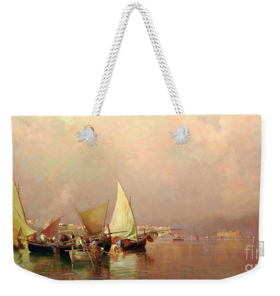Weekender Tote Bag featuring the painting Sailing Fishermen Boats In Naples by Rosario Piazza