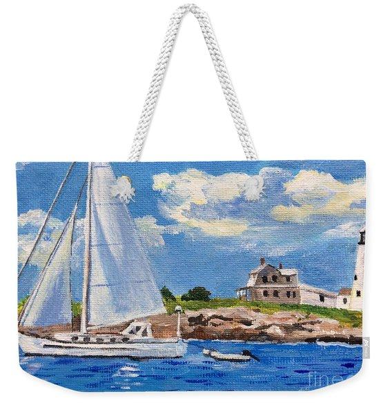 Sailing Past Wood Island Lighthouse Weekender Tote Bag