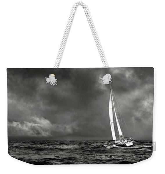 Sailing The Wine Dark Sea In Black And White Weekender Tote Bag