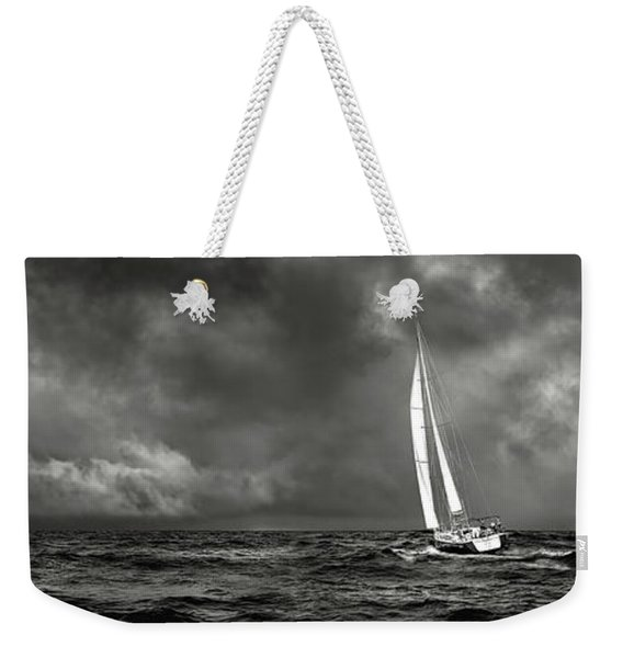 Sailing The Wine Dark Sea In Black And White Weekender Tote Bag