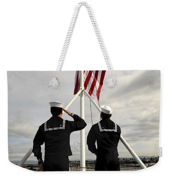 Sailors Raise The National Ensign Weekender Tote Bag