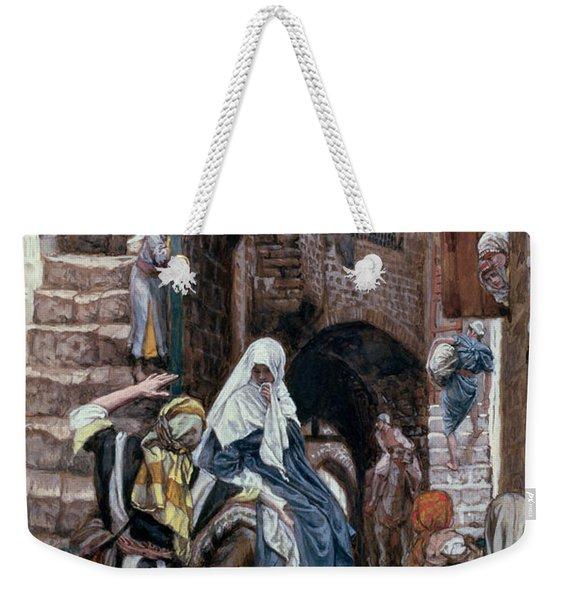 Saint Joseph Seeks Lodging In Bethlehem Weekender Tote Bag